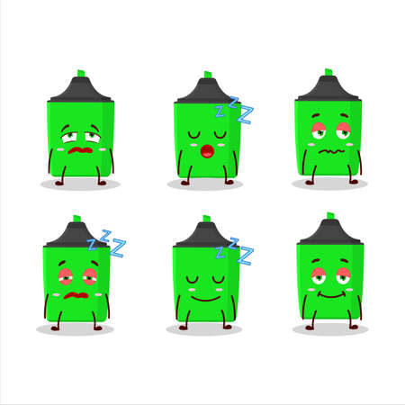 Cartoon character of new green highlighter with sleepy expression Çizim