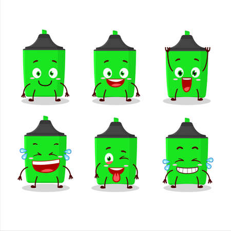 Cartoon character of new green highlighter with smile expression Çizim