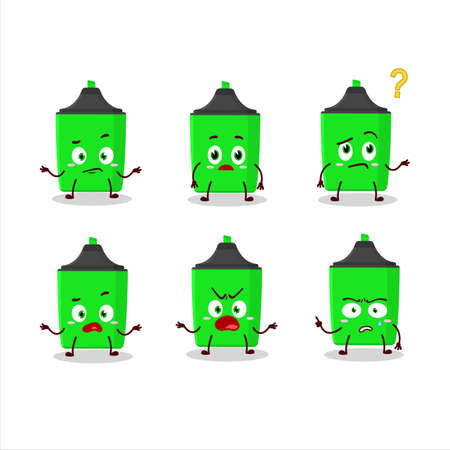 Cartoon character of new green highlighter with what expression