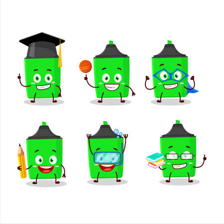 School student of new green highlighter cartoon character with various expressions