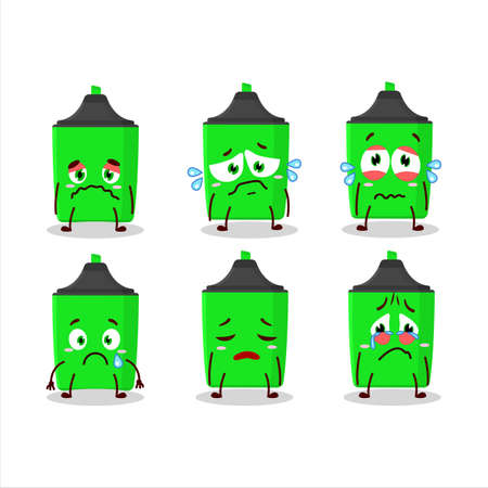 New green highlighter cartoon character with sad expression