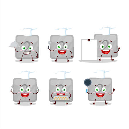 Cartoon character of silver first button with various chef emoticons