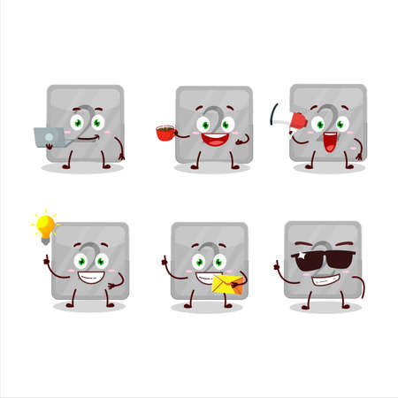 Silver first button cartoon character with various types of business emoticons