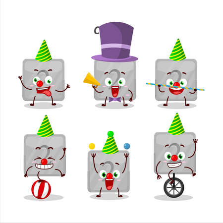 Cartoon character of silver first button with various circus shows