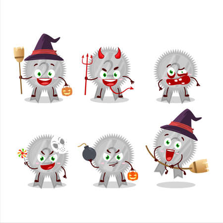 Halloween expression emoticons with cartoon character of silver medals ribbon Çizim