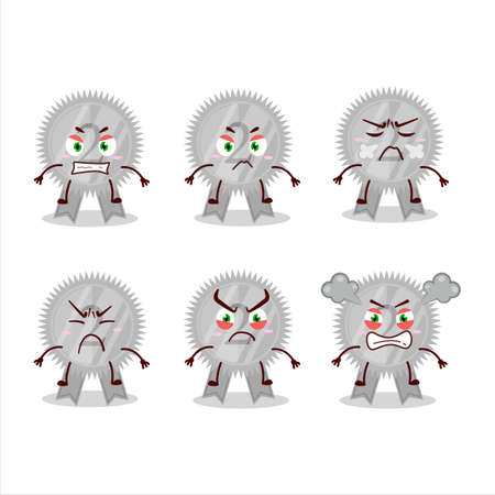 Silver medals ribbon cartoon character with various angry expressions Çizim