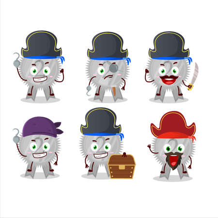 Cartoon character of Silver medals ribbon with various pirates emoticons