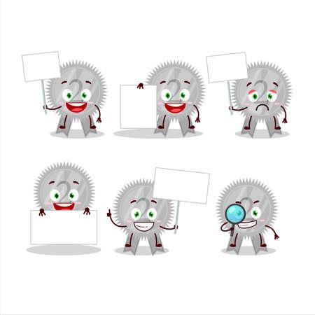 Silver medals ribbon cartoon character bring information board Çizim