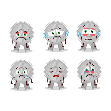 Silver medals ribbon cartoon character with sad expression 矢量图像