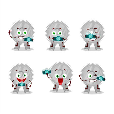 Photographer profession emoticon with silver medals ribbon cartoon character Çizim