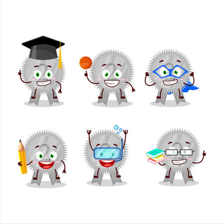 School student of silver medals ribbon cartoon character with various expressions Çizim