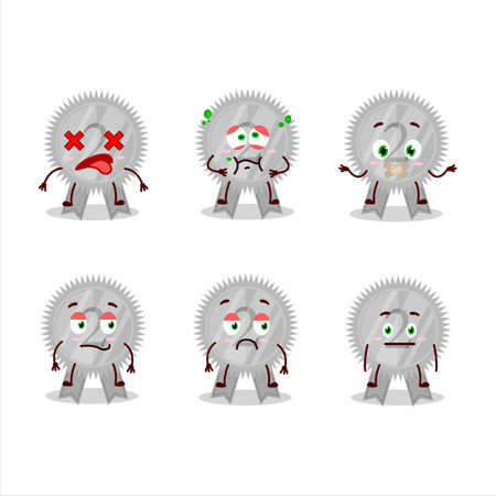 Silver medals ribbon cartoon character with nope expression