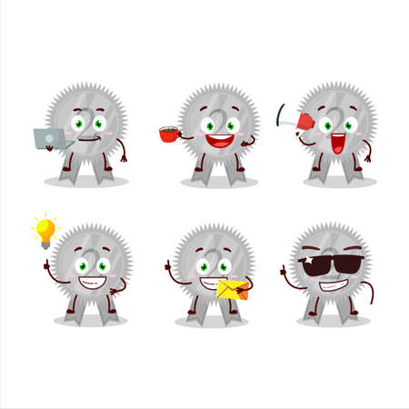 Silver medals ribbon cartoon character with various types of business emoticons