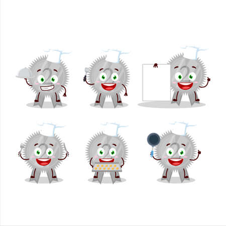 Cartoon character of silver medals ribbon with various chef emoticons Çizim