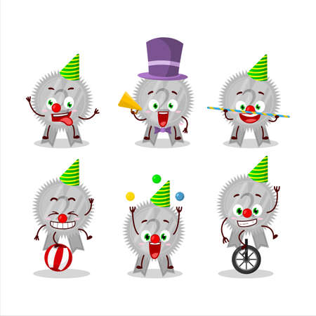 Cartoon character of silver medals ribbon with various circus shows Çizim