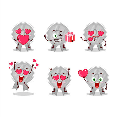 Silver medals ribbon cartoon character with love cute emoticon Çizim
