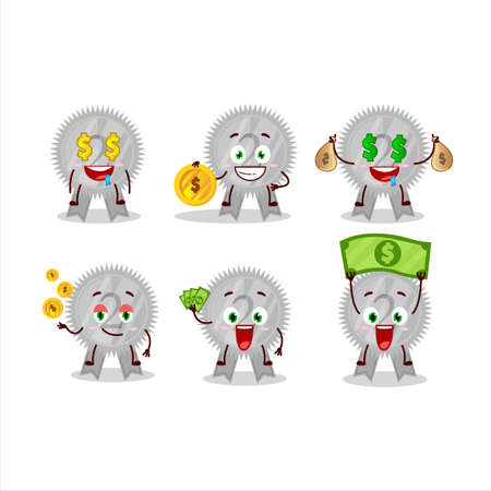 Silver medals ribbon cartoon character with cute emoticon bring money