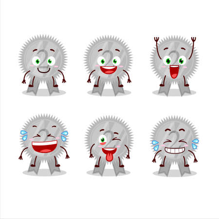 Cartoon character of silver medals ribbon with smile expression