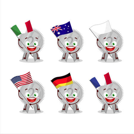 Silver medals ribbon cartoon character bring the flags of various countries Vettoriali