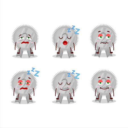 Cartoon character of silver medals ribbon with sleepy expression