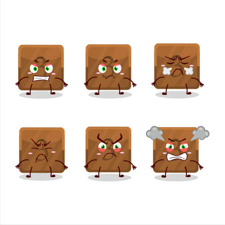 Third button cartoon character with various angry expressions Vektorgrafik