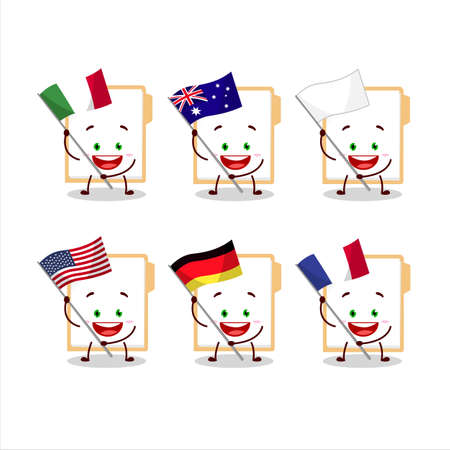 Brown manila folder cartoon character bring the flags of various countries Vettoriali