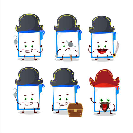 Cartoon character of blue manila folder with various pirates emoticons