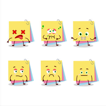 Sticky notes paper cartoon character with nope expression