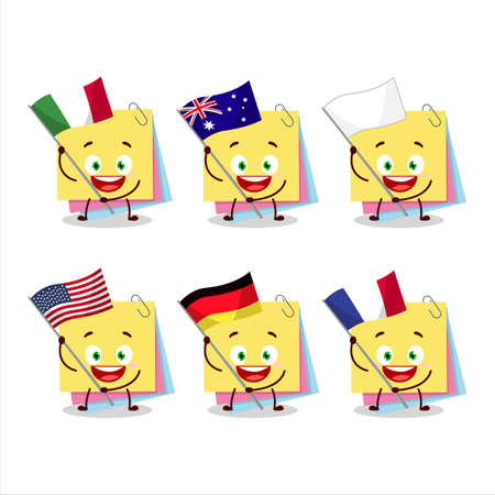Sticky notes paper cartoon character bring the flags of various countries Vettoriali