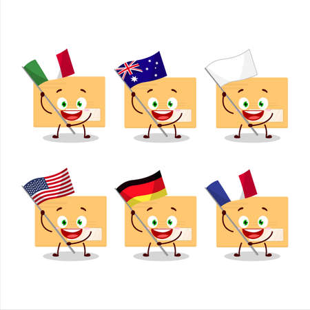 Brown rectangle envelope cartoon character bring the flags of various countries Vettoriali