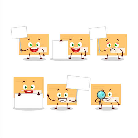 Brown rectangle envelope cartoon character bring information board