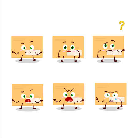 Cartoon character of brown rectangle envelope with what expression