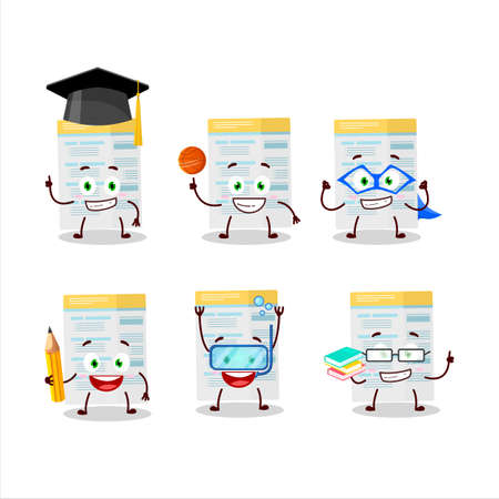 School student of filling form cartoon character with various expressions