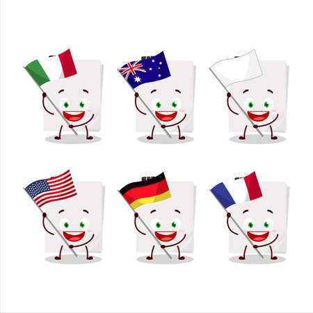Sticky notes paper white cartoon character bring the flags of various countries Vettoriali