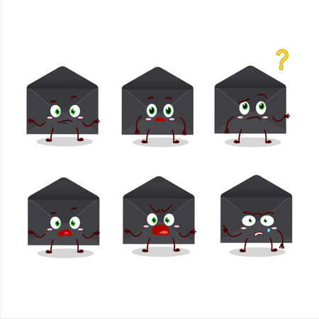 Cartoon character of black envelope with what expression