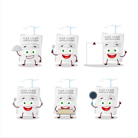 Cartoon character of car loan application with various chef emoticons
