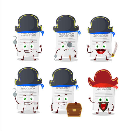 Cartoon character of car loan application with various pirates emoticons.Vector illustration