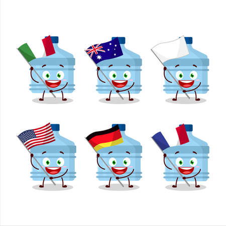 Gallon cartoon character bring the flags of various countries