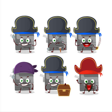 Cartoon character of office copier with various pirates emoticons Ilustrace