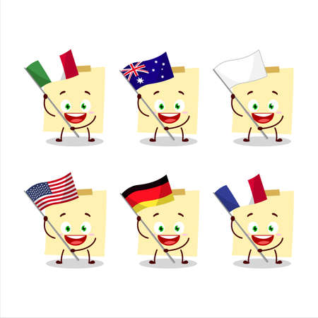 Pale yellow sticky notes cartoon character bring the flags of various countries Иллюстрация