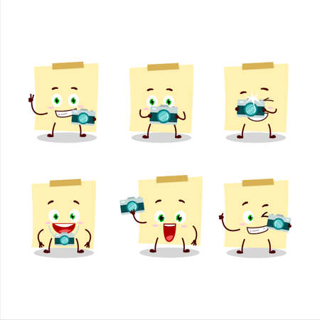 Photographer profession emoticon with pale yellow sticky notes cartoon character