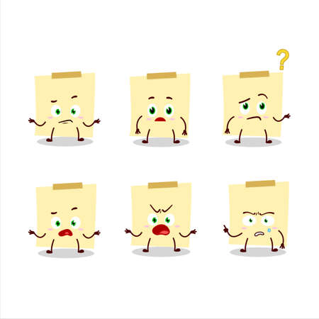 Cartoon character of pale yellow sticky notes with what expression