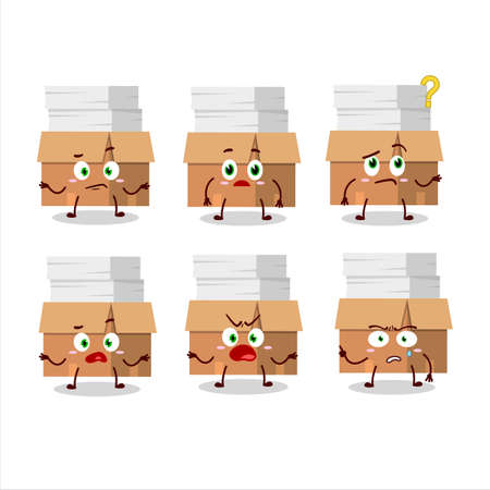 Cartoon character of office boxes with paper with what expression