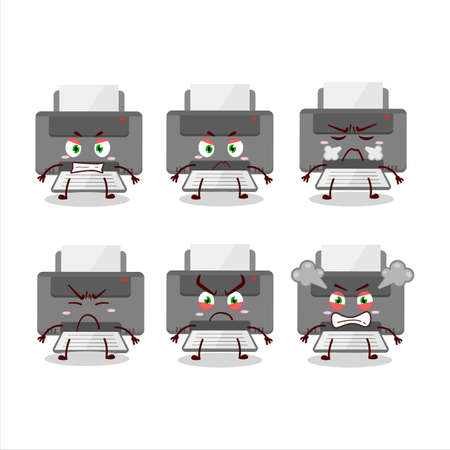 Printer cartoon character with various angry expressions 向量圖像