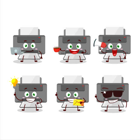 Printer cartoon character with various types of business emoticons