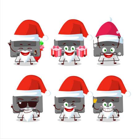 Santa Claus emoticons with printer cartoon character 向量圖像