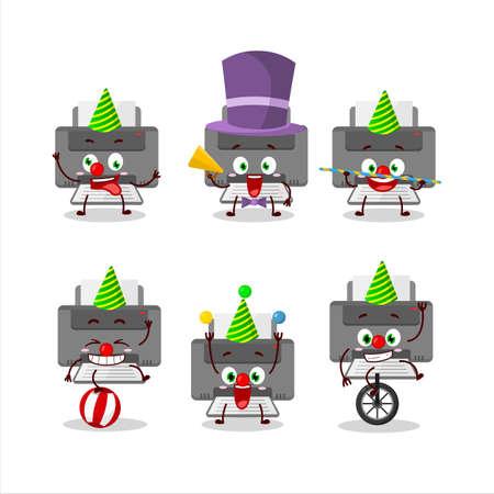 Cartoon character of printer with various circus shows