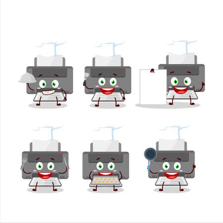 Cartoon character of printer with various chef emoticons