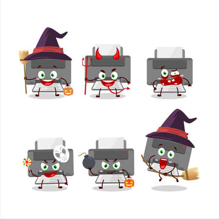 Halloween expression emoticons with cartoon character of printer