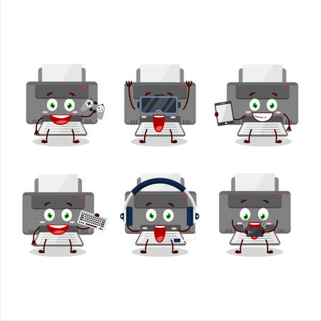 Printer cartoon character are playing games with various cute emoticons